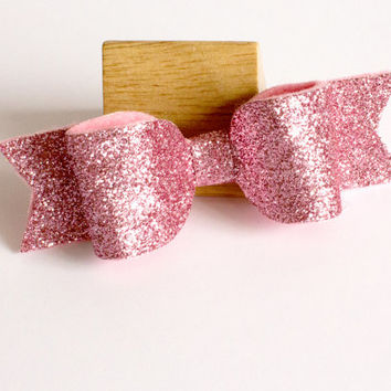 Large hair bows - pink glitter bow clip - toddler hair clip - 3.5 inch hair bow - pink hairbow - glittery hair accessories