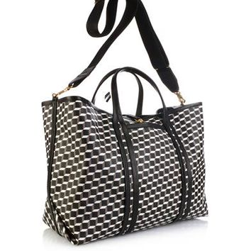 Cube-print coated-canvas tote