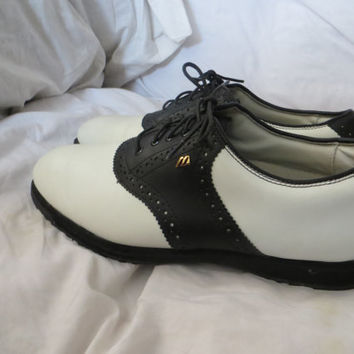 vtg  Mens Mizuno Golf Teaching Professional Shoes White Black Saddle Leather 10 M