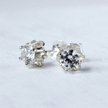 CZ studs, Sterling silver diamond stud earrings, 4mm cubic zirconia in vintage style buttercup setting Bridesmaids earrings April birthstone