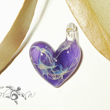 Vibrant Purple Heart Pendant - Glass Jewelry - Glass Art - Heart Pendant - Blown Glass - Heart Charm - Love Bead Made with Pure Silver