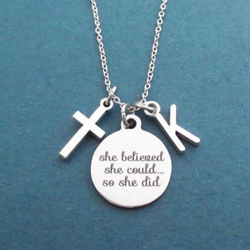 Personalized, Letter, Initial, She believed, she could..., so she did, Cross, Silver, Necklace, Modern, Cross, Gift, Jewelry