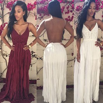 Boho Ruched Long Dress Beach White Lace Backless Sleeveless Maxi Dress Women Party Sexy Night Club Sling Pleated Dress Honeymoon