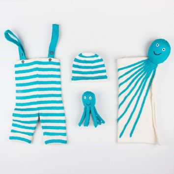 Organic Baby Gift Set - Knit Overalls, Octopus Blanket, Infant Toy & Hat