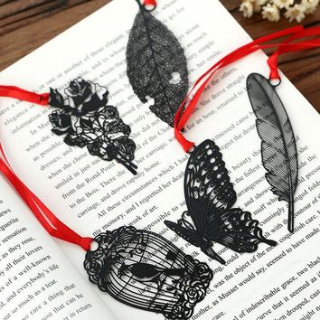 VONC1Y DIY Cute Kawaii Black Butterfly Feather Metal Bookmark for Book Paper Creative Items Lovely Korean Stationery Gift Package