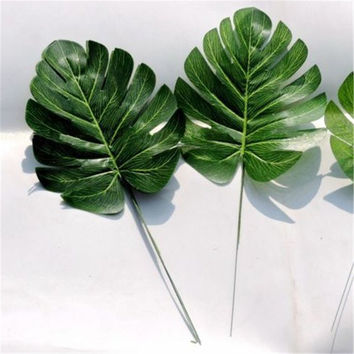 Green Artificial Monstera Palm Spray Fern Leaf Plant Tree Branch Wedding Decor