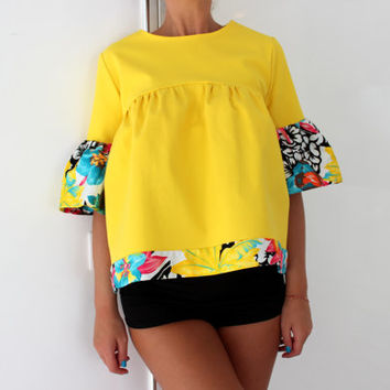 NEW SS16 Yellow Maxi Top, Ruffle top, Ruffle blouse, Floral top, Oversized top, Maxi top, Loose fitted Tunic, Tunic , Top
