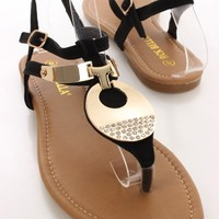 Black High Polish Rhinestone Sandals