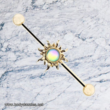Golden Sun Sparkling Industrial Barbell 14ga Scaffold Piercing Barbell 316L Surgical Stainless Steel