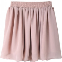 Pink Elastic Waist Pleated Chiffon Skirt