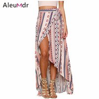 Aleumdr Apparel Women Long Skirt Summer Printed 2017 Ethnic Print Maxi Skirts Wrapped Beach Skirt LC42061 Faldas Largas