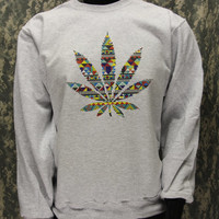 Tribal Pattern in Weed Crew Neck Sweatshirt  Design  by LittleLots