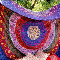 colorful geometric & abstract circle flower pattern  Maya style rectangle wall hanger Tapestry Beach Towel