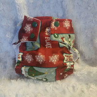Christmas Cloth Pocket Diaper Cover - One-Size or Newborn, S, M, L