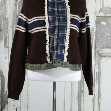 Upcycled Brown and Blue Cartigan Sweater Upcycled Clothing Eco Fashion Boho Chic Junk Gypsy Shabby Chic Wearable Art