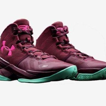 LMFON Under Armour Curry 2 BHM Size 10 Mens 1259007-602 Maroon Basketball Shoes