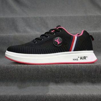 Gotopfashion LV Shoes Nike Air Sports Shoes Louis Vuitton Sports Shoes Jointly breathable running shoes Stripe Black+Rose red