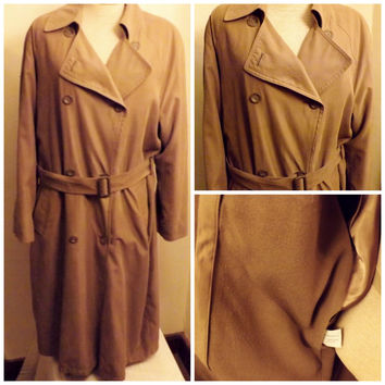 80s Vintage Womens London Fog Faux Suede Trench Coat Size 12  Mauve