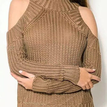 Khaki Cut-Out Shoulder Knit Sweater