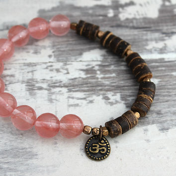 Pink Cherry Quartz Bracelet, Om Bracelet, Om Jewelry, Cherry Quartz Jewelry, Yoga Bracelet Yoga Jewelry Yoga Girl Natural Jewelry, Yoga Gift