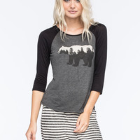Full Tilt Bear Womens Raglan Tee Charcoal  In Sizes