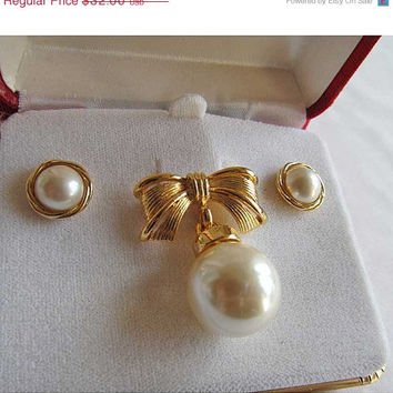 Hello Spring Sale Gold/ Pearl Brooch and Pierced Earrings Set Vintage Marvella for Lord & Taylor