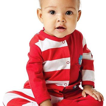 "Dr. Seuss ""Cat in the Hat"" Cotton Footed Sleeper (3, 6, 9 mos.)"