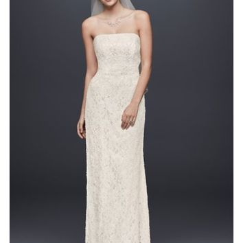 Allover Beaded Lace Sheath Gown with Empire Waist - Davids Bridal