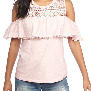 TRUE CRAFT Washed Ruffle Cold Shoulder Top