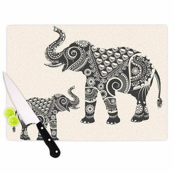 "Famenxt ""Ornate Indian Elephant-Boho"" Black Beige Cutting Board"