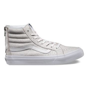 Vans Crackle Suede SK8-Hi Slim Zip (white)