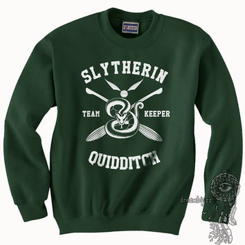 KEEPER - Slytherin Quidditch team Keeper WHITE print on Forest green color Crew neck Sweatshirt