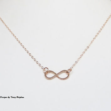 14K Rose Gold Filled Wire Infinity Pendant Necklace Bridesmaid Best Friend Sister Mother Girlfriend Wife Maid of Honor Gift Idea