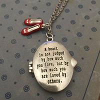 Wizard of Oz Necklace, A Heart is Not Judged, How Much You Love, Silver Locket, Engraved Locket, Silver Engraved Locket, Locket Necklace