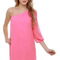 C'mon Get Happy One Shoulder Bubblegum Pink Dress
