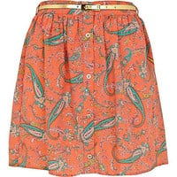 Coral paisley print button through skirt