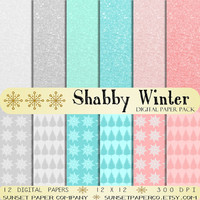 Shabby Winter Digital Paper Pack - Soft Blues, Pinks and Grays - INSTANT DOWNLOAD - Trees & Snowflakes - Scrapbook and Christmas Crafts