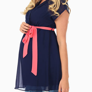 Navy Blue Coral Belted Chiffon Maternity/Nursing Blouse