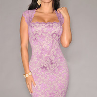 Purple Floral Lace Cap Sleeve Bodycon Midi Dress