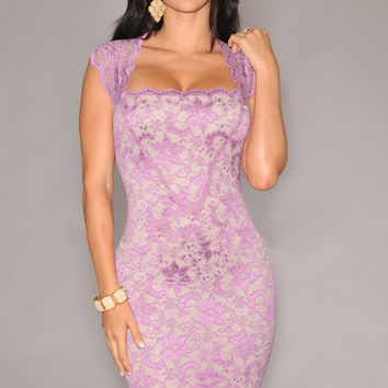 Light Purple Nude Lace Bodycon Mini Dress