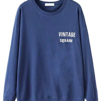 Blue Letter Embroidered Sweatshirt