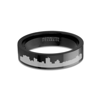 Fort Worth City Skyline Cityscape Engraved Black Tungsten Ring