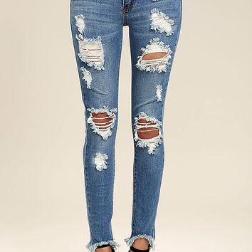 On the Air Medium Wash Destroyed Skinny Jeans