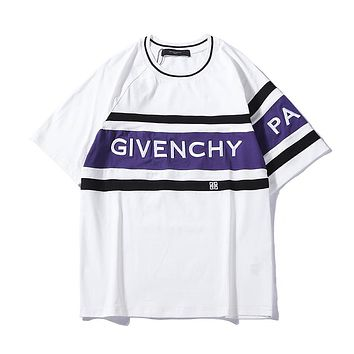 Givenchy 2019 early spring new fashion casual letter embroidery color matching round neck short-sleeved T-shirt White