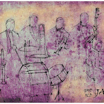 A4 size print, Good Old Jazz, Original Handmade Drawing Print, Louis Armstrong and his Hot Five
