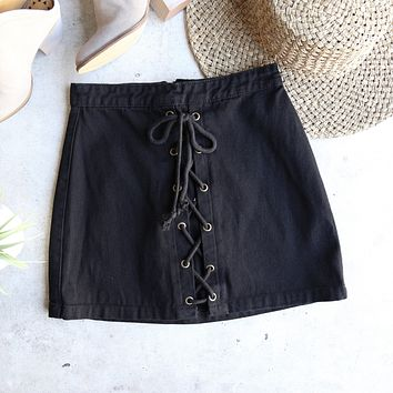 kendall denim lace-up skirt - black