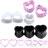 Hot Pair Punk Acrylic Hollow Heart Double Flare Ear Tunnels Gauges Plugs Earlets  Body Jewelry 01MQ