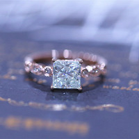 5.5mm Princess Cut Charles & Colvard Brilliant Moissanite Ring Solid 14K Rose Gold Moissanite Engagement Ring Moissanite Wedding Ring
