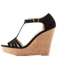 Black Strappy T-Strap Platform Wedges by Charlotte Russe