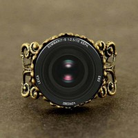 Vintage Camera Lens art photo ring Fairytale girl Jewelry women men gift antique charm